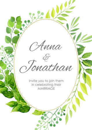Wedding invitation with green leaves border. Floral invite modern card template. Vector illustration.