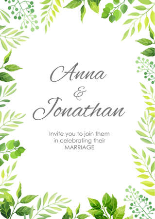 Wedding invitation with green leaves border. Floral invite modern card template. Vector illustration. Vectores
