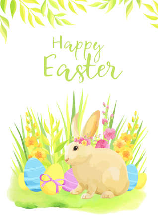 Happy Easter card with rabbit, eggs and flowers. Vector illustration.