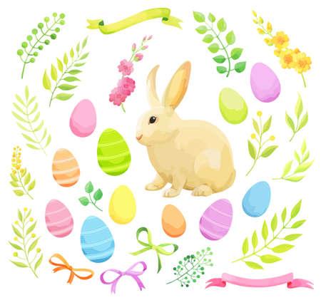 Set of Easter design elements. Eggs, flowers, rabbit, ribbons. - Vector