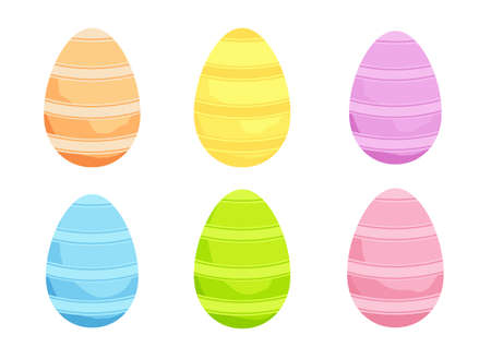 Set of Easter eggs in Pink, Green, Blue, and Yellow for holiday greetings. - Vector Stock Illustratie