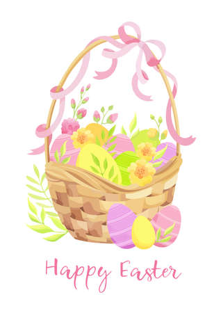 Happy Easter card with basket, eggs and flowers. - Vector