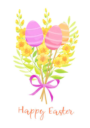 Happy Easter card with eggs and flowers bouquet. Vector illustration.
