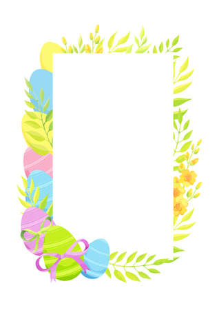 Happy Easter frame template with eggs and flowers. Vector illustration.