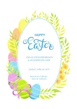 Happy Easter invitation with eggs and flowers frame. Vector illustration.