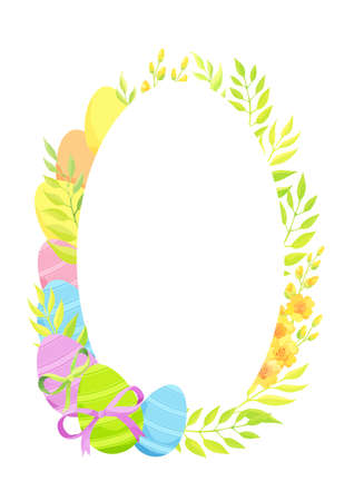 Happy Easter frame template with eggs and flowers. - Vector