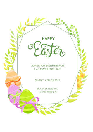 Happy Easter invitation with flowers, green leaves and eggs polygonal border. - Vector