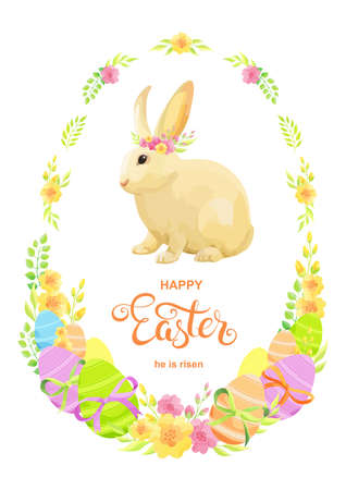 Happy Easter card with rabbit, eggs and flowers. - Vector Stock Illustratie
