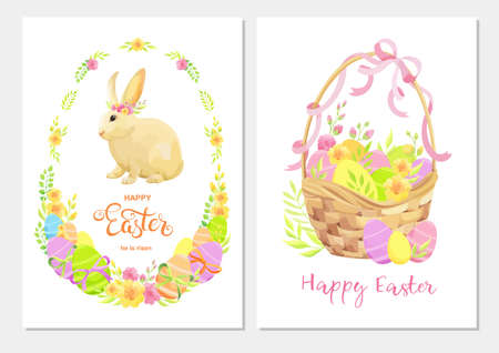 Happy Easter greeting card set with rabbit, flowers, green leaves and eggs. - Vector