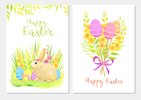 Happy Easter greeting card template set with rabbit, flowers, green leaves and eggs. - Vector