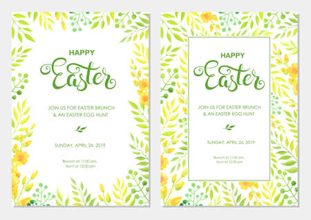 Happy Easter invitation with flowers, green leaves border. Easter invite modern card template set. - Vector
