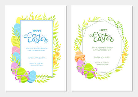 Happy Easter invitation with flowers, green leaves and eggs border. Easter invite modern card template set. - Vector
