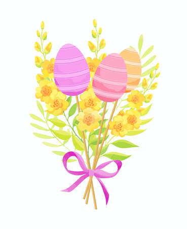 Easter eggs and flowers bouquet with bow. Floral composition. Vector illustration.