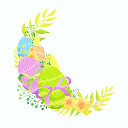 Easter composition with eggs, bows and flowers. Vector illustration. Stock Illustratie