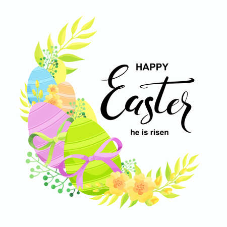 Happy Easter card with eggs, flowers and bow. Vector illustration.