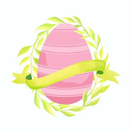 Easter egg, foliage and ribbon. Vector illustration. Stock Illustratie