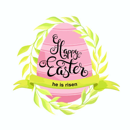 Happy Easter card with egg, foliage and ribbon. Vector illustration.