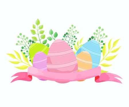 Easter composition with eggs, flowers and ribbon. Vector illustration.