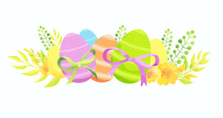 Easter composition with eggs, bow and flowers.