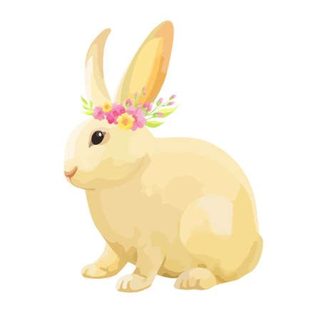 Happy Easter bunny with flowers wreath isilated on whitw background.