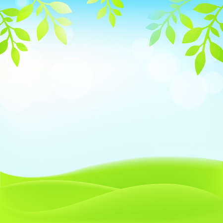 Spring background with grass, leaves and sky. Vector illustration.