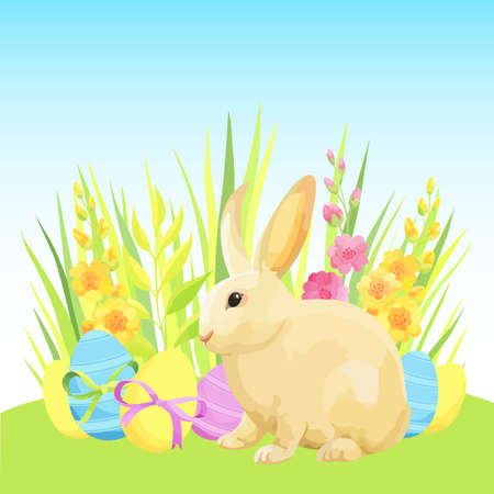 Easter composition with rabbit, eggs and grass. - Vector