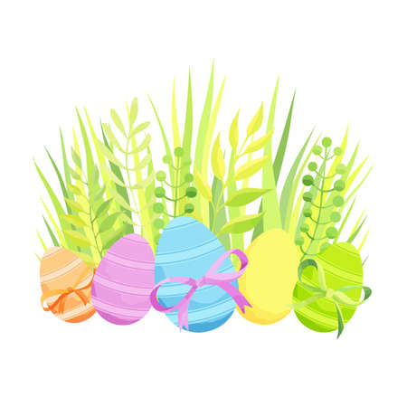 Easter composition with eggs, bow and grass. - Vector