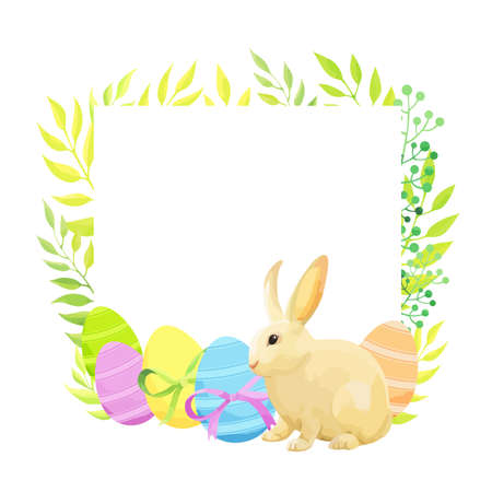 Happy Easter frame template with rabbit, eggs and flowers. - Vector