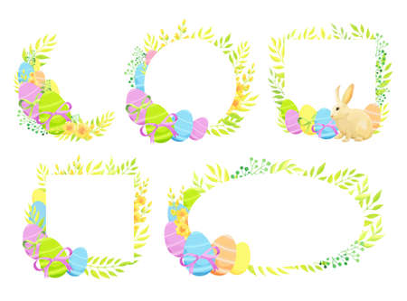 Happy Easter frame template set. - Vector