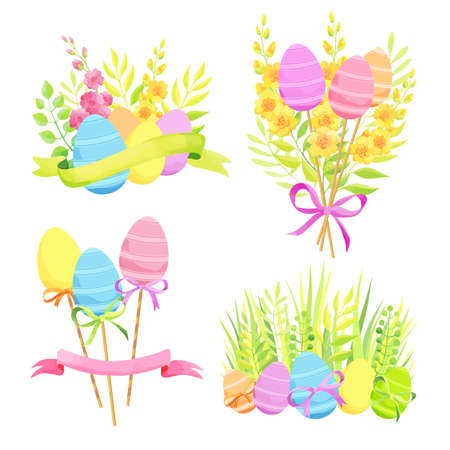 Set of Easter design elements. Eggs, flowers, bouquets, ribbons. - Vector Stock Illustratie