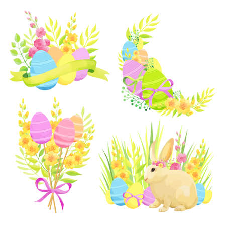 Set of Easter design elements. Eggs, bunny, flowers, bouquets, ribbons. - Vector