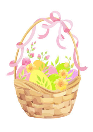Happy Easter card with basket, eggs, flowers and ribbon. - Vector