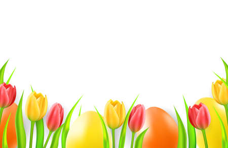 Easter background with eggs and tulips.