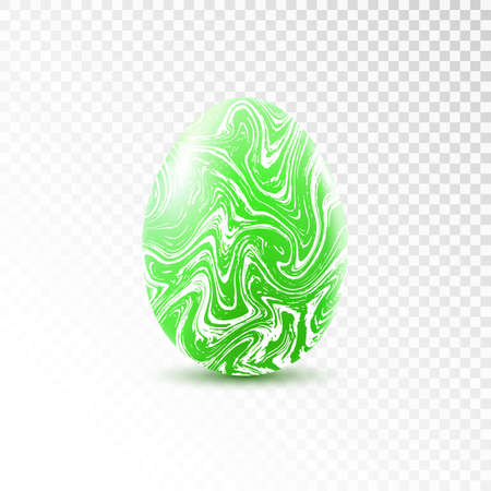 Green egg with marble texture isolated on transparent background. Easter object template. Stock Illustratie