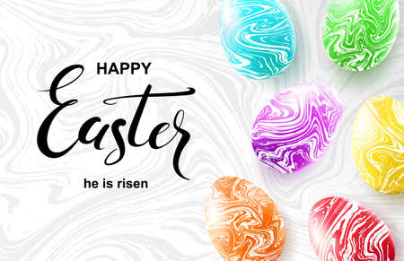 Happy Easter card with calligraphy and colorful marble eggs.