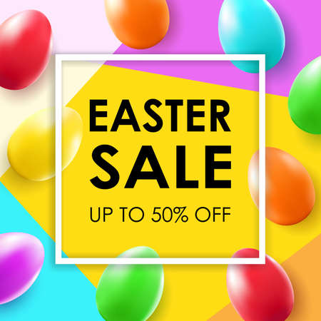 Easter sale banner with colorful egg. Stock Illustratie
