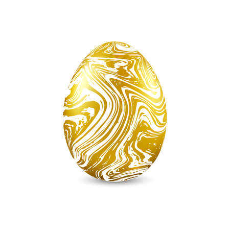 Gold egg with marble texture isolated on white background. Easter object template.
