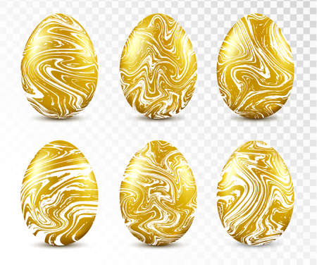 Gold easter eggs with marble texture. Easter object template set. Stock Illustratie