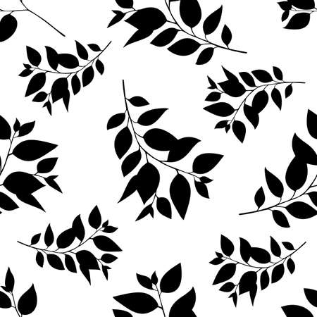Floral seamless pattern with leaves silhouette. Vector illustration.