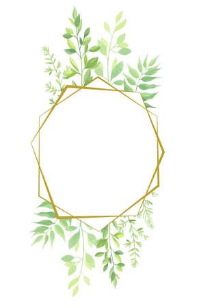 Green leaves geometric frame template. Vector illustration. Stock Illustratie