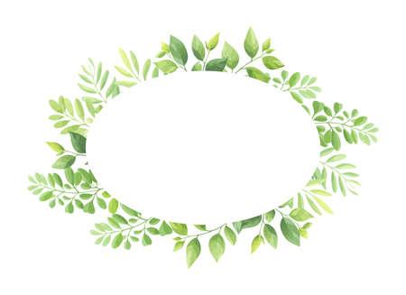 Green leaves frame template. Foliage border. Vector illustration.