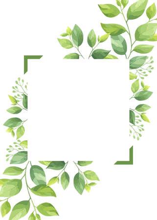 Green leaves frame template. Floral border. Vector illustration.