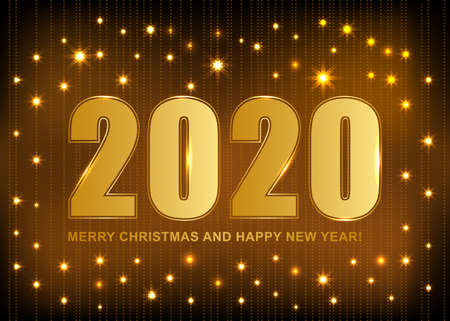 2020 Merry Christmas and Happy New card with abstract glow background. Vector illustration.