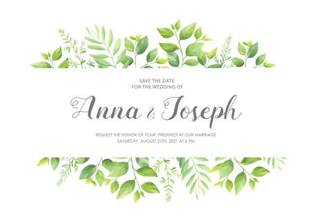 Wedding invitation with green leaves border. Floral invite card template set. Vector illustration.