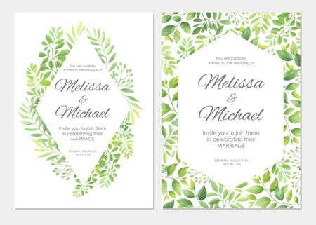 Wedding invitation with green leaves border. Floral invite card template set. Vector illustration. Vettoriali