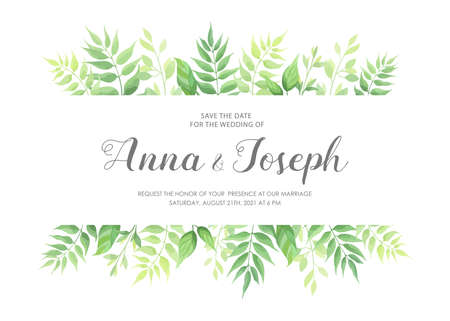 Wedding invitation with green leaves border. Floral invite card template. Vector illustration.