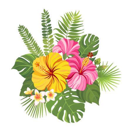 Tropical flowers bouquet. Floral composition with hibiscus, plumeria, palm leaves and monstera. Vector illustration.