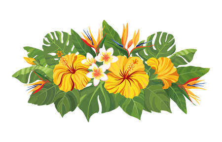 Tropical flowers bouquet. Floral composition with yellow hibiscus, strelitzia, plumeria and palm leaves. Vector illustration.