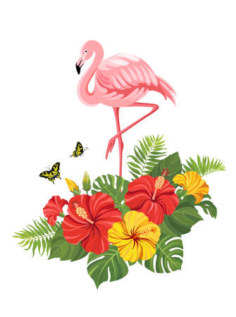 Pink flamingo with tropical flowers and butterflies. Summer floral composition with flamingo. Vector illustration.