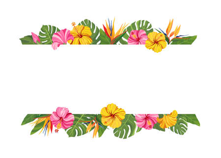 Tropical flowers frame. Hibiscus and strelitzia floral border with place for text. Vector illustration.